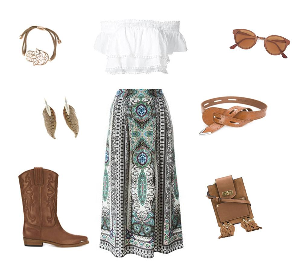 A bohemian fashion style, Maxi skirt, Boots, Texas Boots, Sunglasses top.